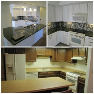 Before and After pictures of a kitchen remodel