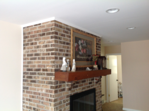Brick fireplace with mantle