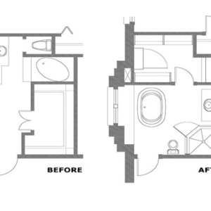 Blueprint of bathroom before and after
