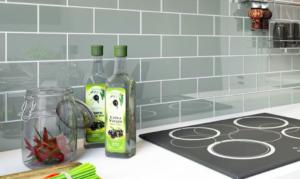 Kitchen backsplash with subway tiles