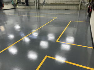 Warehouse floor with newly finished epoxy floors